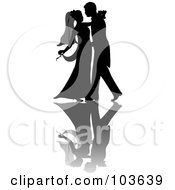 Royalty Free RF Clipart Illustration Of A Silhouetted Couple Dancing At Their Wedding by Pams Clipart