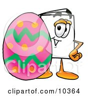 Clipart Picture Of A Paper Mascot Cartoon Character Standing Beside An Easter Egg by Toons4Biz