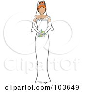 Royalty Free RF Clipart Illustration Of A Faceless Irish Bride Holding Her Bouquet by Pams Clipart