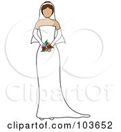 Royalty Free RF Clipart Illustration Of A Faceless Brunette Bride Holding Her Bouquet by Pams Clipart