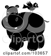 Royalty Free RF Clipart Illustration Of A Silhouetted Bird On A Hippos Back