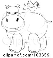 Royalty Free RF Clipart Illustration Of A Coloring Page Outline Of A Bird On A Hippos Back