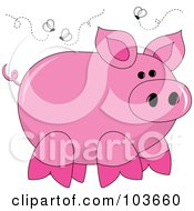 Royalty Free RF Clipart Illustration Of A Stinky Pink Piggy Surrounded By Flies