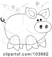 Royalty Free RF Clipart Illustration Of A Coloring Page Outline Of A Stinky Piggy Surrounded By Flies
