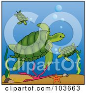 Royalty Free RF Clipart Illustration Of A Green Sea Turtle Watching Over Babies In The Ocean