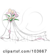 Royalty Free RF Clipart Illustration Of An Abstract Embracing Bride And Groom With A Calla Lily Bouquet
