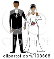 Royalty Free RF Clipart Illustration Of A Hispanic Bride And Groom Standing Arm In Arm