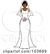Royalty Free RF Clipart Illustration Of A Faceless Hispanic Bride Holding Her Bouquet