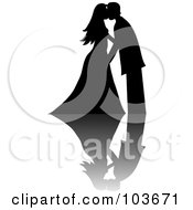Royalty Free RF Clipart Illustration Of A Silhouetted Black Wedding Couple Kissing