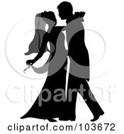 Royalty Free RF Clipart Illustration Of A Silhouetted Newlywed Couple Dancing At Their Wedding by Pams Clipart