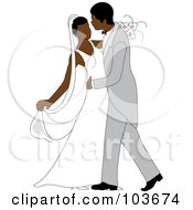 Royalty Free RF Clipart Illustration Of An African American Newlywed Couple Dancing At Their Wedding by Pams Clipart