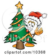 Clipart Picture Of A Paper Mascot Cartoon Character Waving And Standing By A Decorated Christmas Tree
