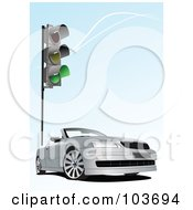 Royalty Free RF Clipart Illustration Of A Silver Convertible Car Under A Green Traffic Light On Blue by leonid