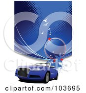 Royalty Free RF Clipart Illustration Of A Blue Convertible Car Under Blue Halftone And Birds by leonid