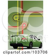 Royalty Free RF Clipart Illustration Of A Green Car On A Green Background With Lines