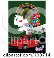 Royalty Free RF Clipart Illustration Of A Red Compact Car On A Green Casino Background