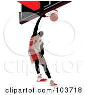 Royalty Free RF Clipart Illustration Of A Silhouetted Basketball Player Grabbing The Hoop