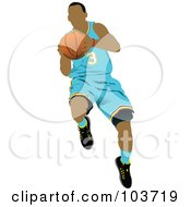 Royalty Free RF Clipart Illustration Of A Basketball Player Jumping In A Light Blue Uniform by leonid