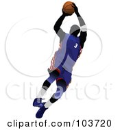 Royalty Free RF Clipart Illustration Of A Silhouetted Basketball Player Jumping In A Blue Uniform