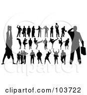 Royalty Free RF Clipart Illustration Of A Digital Collage Of Black Silhouetted Men In Different Poses by leonid