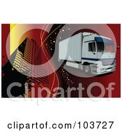 Royalty Free RF Clipart Illustration Of A Big Rig Truck Driving Over A Red Grid Background With A Building