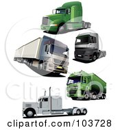 Royalty Free RF Clipart Illustration Of A Digital Collage Of Five Big Rigs by leonid