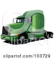 Royalty Free RF Clipart Illustration Of A Green Big Rig Truck