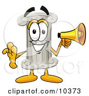 Clipart Picture Of A Pillar Mascot Cartoon Character Holding A Megaphone