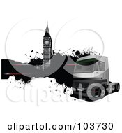 Royalty Free RF Clipart Illustration Of A Big Rig Background Of A Truck And Big Ben With A Text Bar by leonid