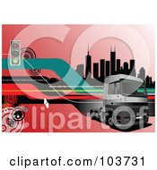 Royalty Free RF Clipart Illustration Of A Big Rig Background Of A Truck And City 3