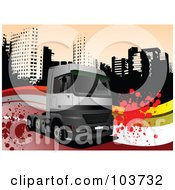 Royalty Free RF Clipart Illustration Of A Big Rig Background Of A Truck Over Grungy Splatters And A City by leonid