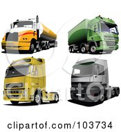 Royalty Free RF Clipart Illustration Of A Digital Collage Of Four Big Rigs