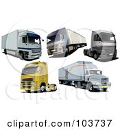 Royalty Free RF Clipart Illustration Of A Digital Collage Of Five Big Rig Trucks