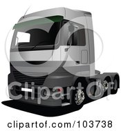 Royalty Free RF Clipart Illustration Of A Big Rig Truck 2