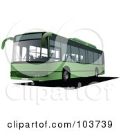 Royalty Free RF Clipart Illustration Of A Green Public Bus by leonid