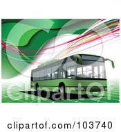 Royalty Free RF Clipart Illustration Of A Green Bus On A Background Of Green Waves Tile And Colorful Waves by leonid