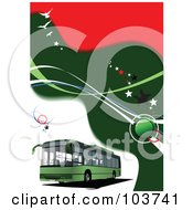 Royalty Free RF Clipart Illustration Of A Green Bus On A Background Of Green And Red Waves And Birds by leonid