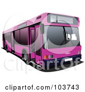 Royalty Free RF Clipart Illustration Of A Pink Public Bus by leonid
