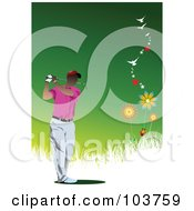 Royalty Free RF Clipart Illustration Of A Faceless Golfer Over A Green And White Background by leonid