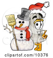 Clipart Picture Of A Pillar Mascot Cartoon Character With A Snowman On Christmas by Toons4Biz
