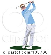 Royalty Free RF Clipart Illustration Of A Faceless Golfer Swinging 4 by leonid