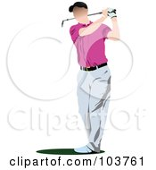 Royalty Free RF Clipart Illustration Of A Faceless Golfer Swinging 2 by leonid
