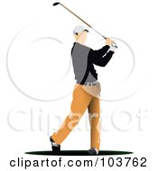 Royalty Free RF Clipart Illustration Of A Faceless Golfer Swinging 1 by leonid