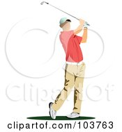 Royalty Free RF Clipart Illustration Of A Faceless Golfer Swinging 3 by leonid