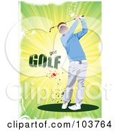 Royalty Free RF Clipart Illustration Of A Faceless Golfer Swinging On A Grungy Green Background by leonid
