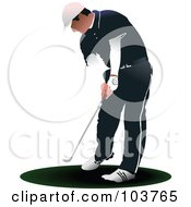 Royalty Free RF Clipart Illustration Of A Faceless Golfer Bending And Swinging by leonid