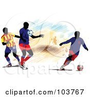 Royalty Free RF Clipart Illustration Of Three Faceless Soccer Players And Blue And White Markings by leonid