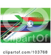 Royalty Free RF Clipart Illustration Of A Soccer Ball On Green Halftone With Colorful Lines by leonid