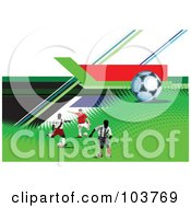 Royalty Free RF Clipart Illustration Of Three Soccer Players And A Ball On Halftone And Colorful Lines by leonid
