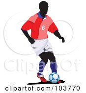 Royalty Free RF Clipart Illustration Of A Faceless Soccer Player And Ball 2 by leonid